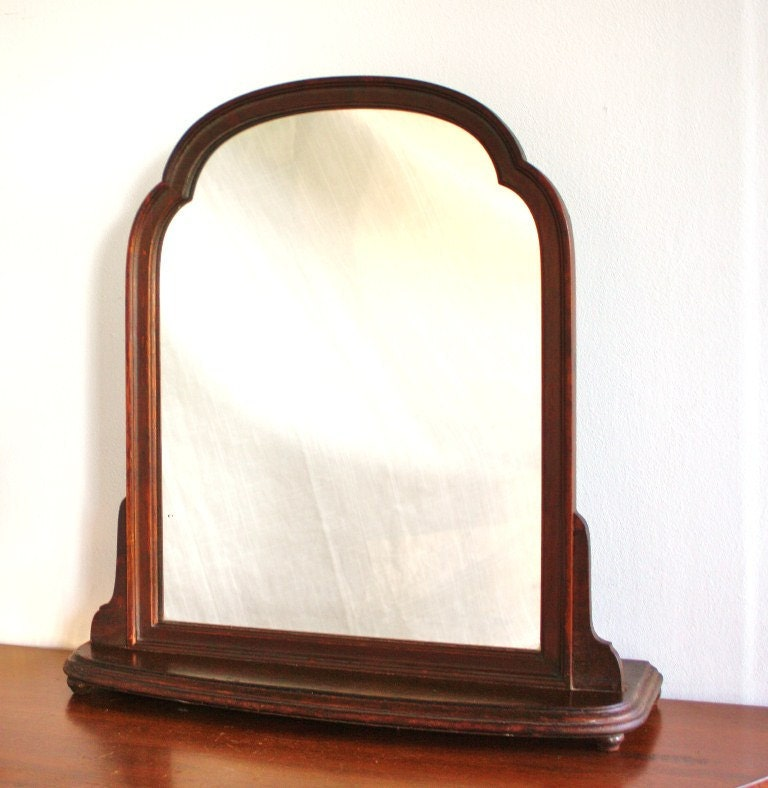 Antique standing vanity mirror with wood frame for Standing mirror frame