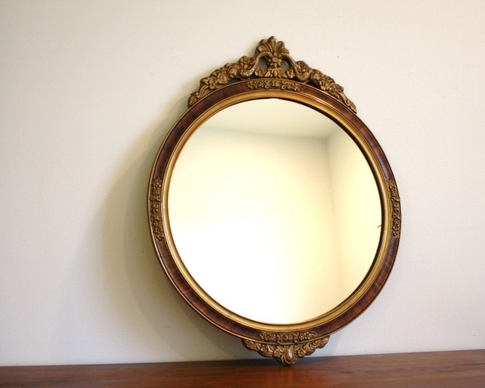 Large Round Vintage Wooden Mirror With Detail By