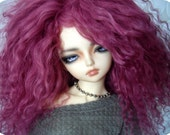 "Magenta Tibetan mohair wig for size 7/8"" MSD Minifee"