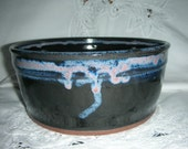 Wheel Thrown Bowl and Bread Baker in Black and Blue Purple