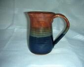 Wheel Thrown Stoneware  Mug in  Shino and Cobalt Blue