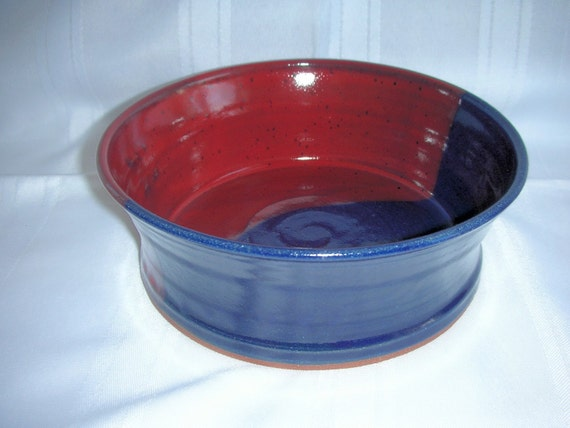 Dog Bowl Wheel Thrown Stoneware in Red and Cobalt