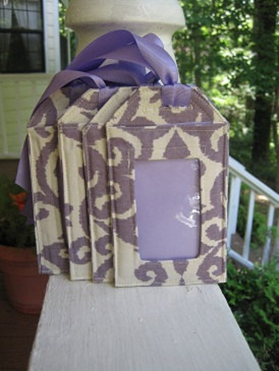 ON SALE Retired fabric Luggage Tags/Cream and Lavender swirls
