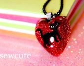 Tres Chic Love Cat Heart Shaped Ruby Red Glittery Resin Pendant Necklace with a Cute Kitty for all Cat Lovers...  by isewcute