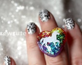 I Love Unicorns and Rainbows... a sparkly heart resin glitter ring to match my pendant necklace by isewcute