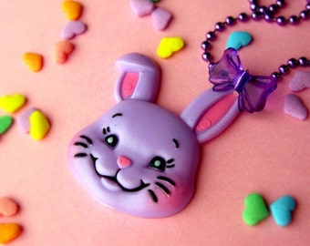 Easter Vintage Style Cute Plastic Bunny Necklace ...the purple one in a limited series of 3 by isewcute