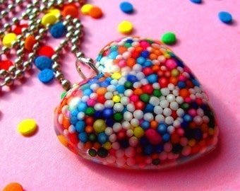 Sugar Love for Your Sweetie ...a wearable resin rainbow sprinkles heart shaped candy pendant necklace made with love by isewcute