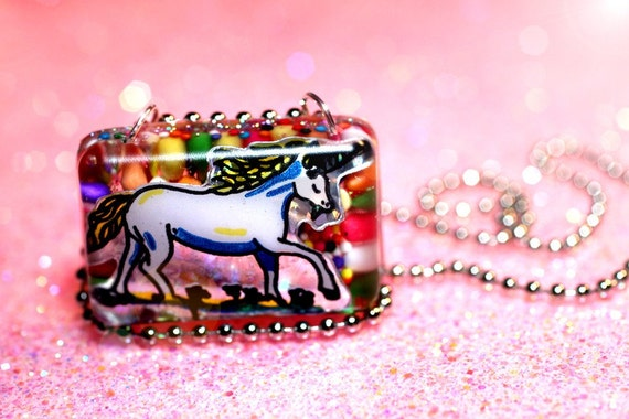 Unicorn Necklace, resin pendant 80s unicorn, cute colorful rainbow candy resin jewelry, one of a kind hand cast resin handmade by isewcute