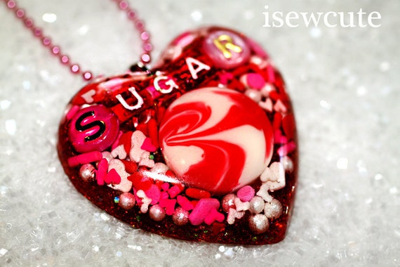 Necklace Big Sweet Heart Pendant in Red, White, & Pink, big one of a kind resin heart full of candy and glitter handmade by isewcute