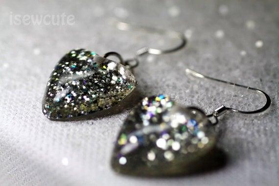 Pretty jewelry, festive earrings, heart shaped resin & silver glitter sparkle dangle style cute festive holiday earrings for her by isewcute
