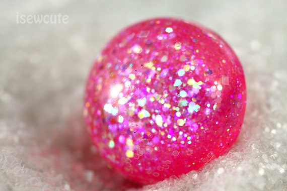Resin Cocktail Ring - Out of this World Giant Pink Shimmery Scintillating Glitter Resin Dome Ring