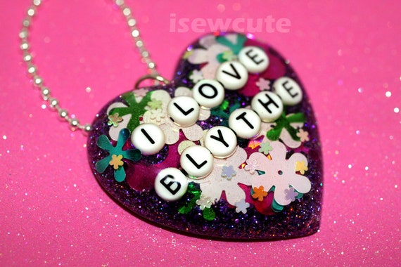 I Love Blythe Necklace Doll Lover Resin Statement Heart Shape Floral Glitter Pendant by isewcute