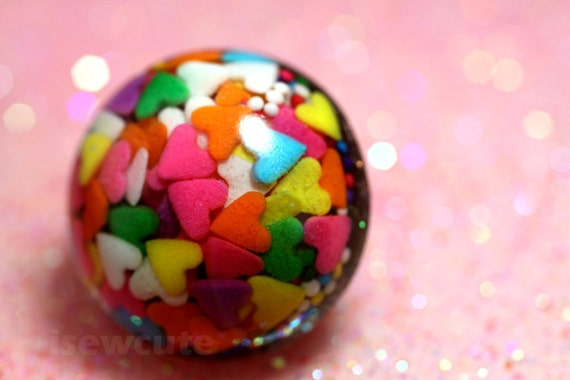 Jewelry, resin sprinkles ring, big love hearts rainbow candy sprinkles, kawaii Harajuku glam style handcrafted big bling by isewcute