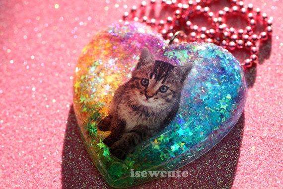 Cat Jewelry for Humans Cat Lover Resin Heart Necklace Full of Rainbow Tie Dye Glitter Handmade