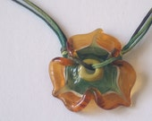 little tapaz flower neckless, Lampwork glass bead hand made by Yasmin Sivan