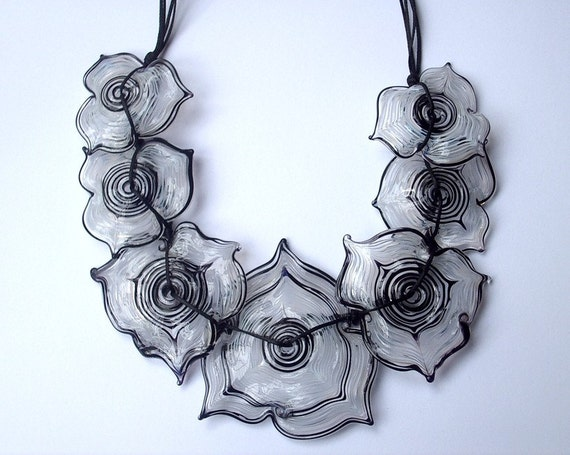 Good Old Days- HUGE seven flowers necklace Lampwork glass bead hand made by YasminSivan