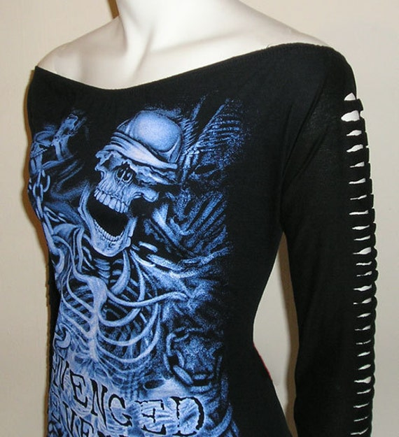 Avenged Sevenfold a7x  Tour Tshirt Long Sleeve Top diy bnwt ooak upcycled your size