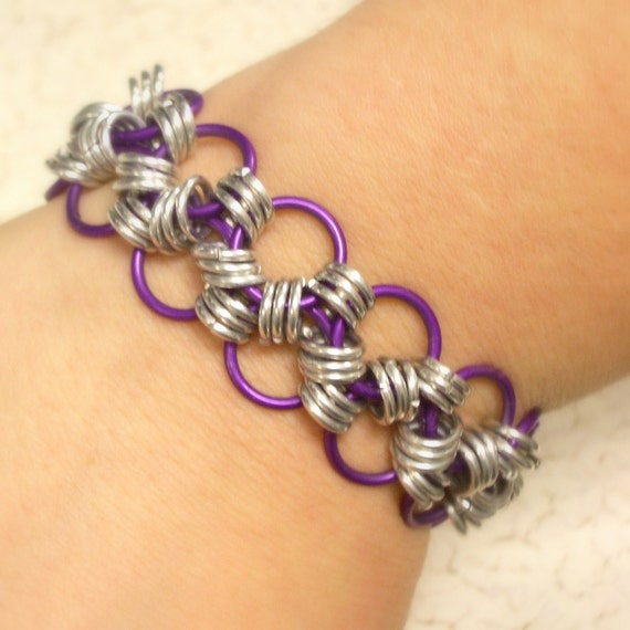 Trendy Fuschia Double Strand Chainmaille Bracelet