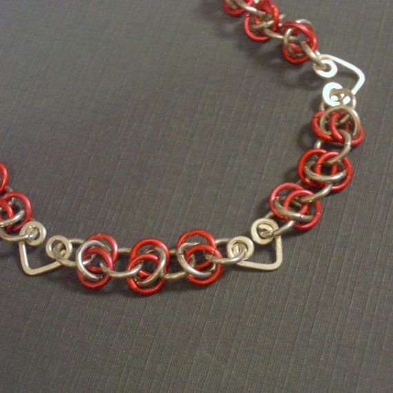 Red and Silver Heart Chainmaille Bracelet