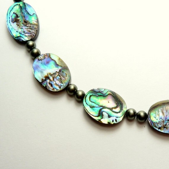 Abalone beaded necklace with glass pearls and sterling silver clasp