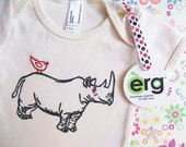 ORGANIC Rhino and Bird Baby Bodysuit, Infant Creeper, One Piece Snapsuit, 3-6 or 6-12 Month Short-Sleeve, Screen Printed and Hand Stitched