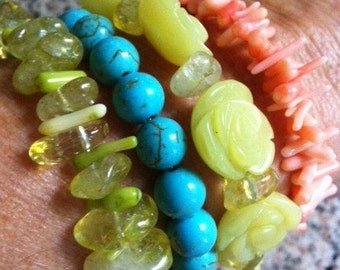Beautiful Gemstone Lemon Jade Turquoise and Coral Bracelet