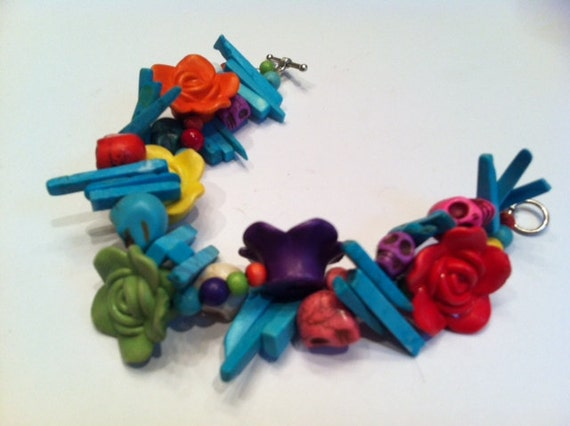 Reserved-Bright and Colorful Flower and Skull Bead Bracelet