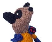 Meerkat Wolverine, X Men , handmade in UK, knitted superhero, hunk meercat