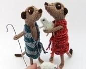 Christmas Meerkat shepherds, knitted sheep, lambs, Meercat Nativity, meerkat nativity