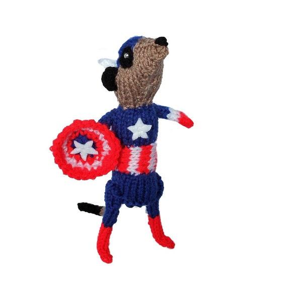 Captain America handknitted Meerkat Handmade in UK