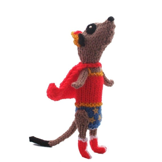 Wonder Woman Meerkat handmade in UK knitted with Niftyknits own superpowers
