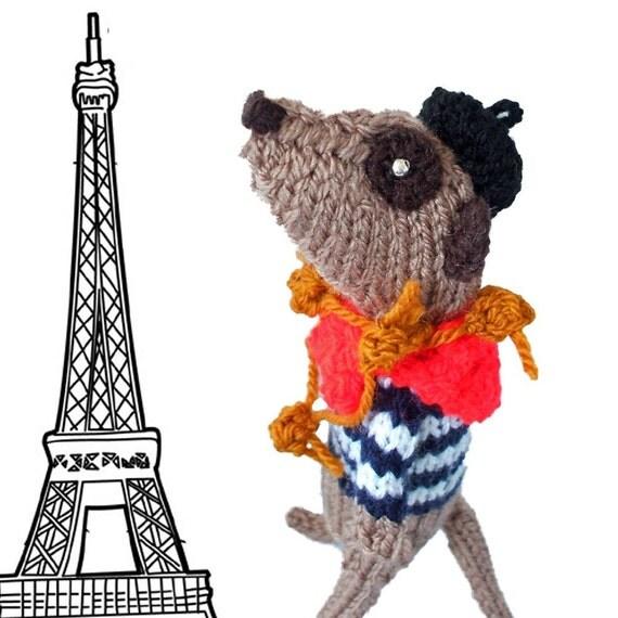 French Meerkat, Onion Seller meerkat, knitted meerkat, vive la France, ooh la la