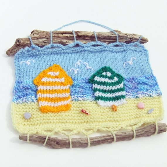 Knitted English seascape, beach huts, seagulls and shells, driftwood frame, sandy beach, nautical, English seaside, ocean