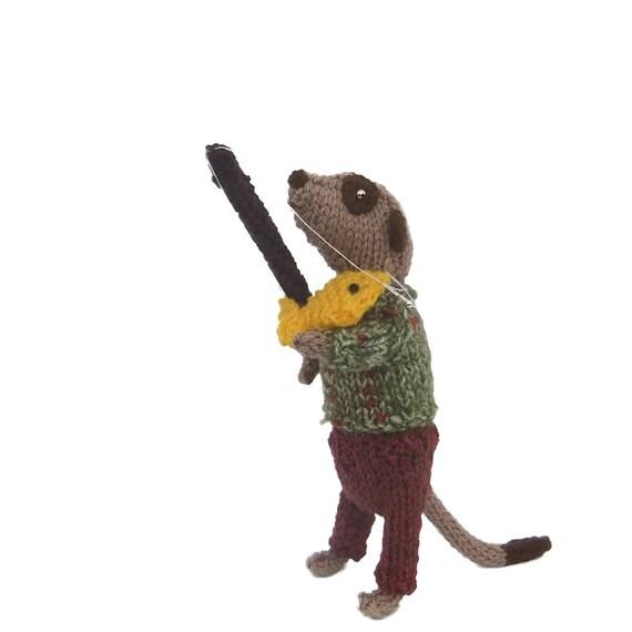 Meerkat Fisherman, hand knitted Angler, fishing, gift for men