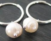 Simplicity - Freshwater Pearl Drop on Sterling Silver Hoop Earrings
