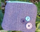 Mini tweed and button zipper pouch