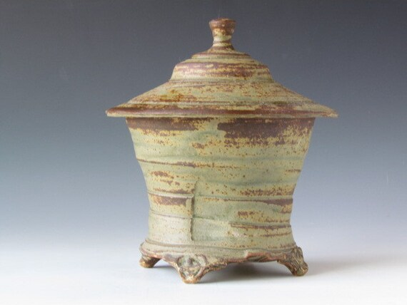 colorful zen lidded temple jar rustic earthy green