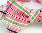 pink n green plaid freestyle bow tie