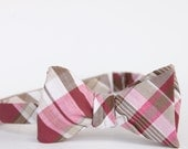 fuschia and taupe plaid freestyle bow tie