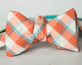 freestyle bow tie in teal and coral