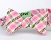 black friday/cyber monday sale-freestyle bow tie in pink and green plaid
