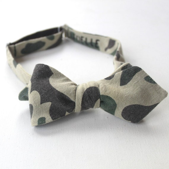 diamond point camouflage freestyle bow tie