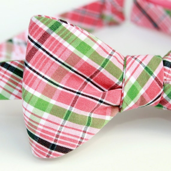 black friday/cyber monday sale-pink n green plaid freestyle bow tie