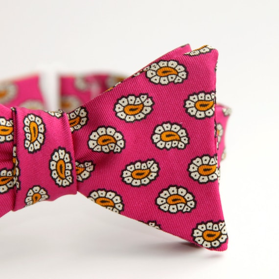 black friday/cyber monday sale-hot pink and orange freestyle bow tie