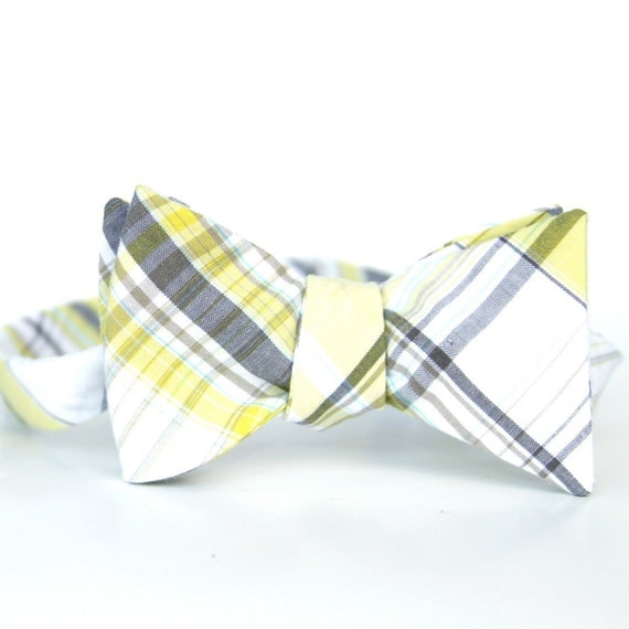 black friday/cyber monday sale-yellow and grey plaid freestyle bow tie