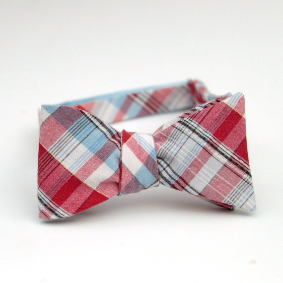 black friday/cyber monday sale-red and blue plaid freestyle bow tie