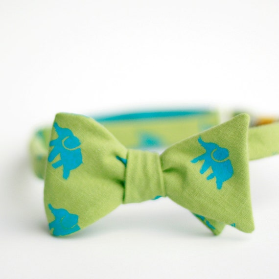 elephants screen printed bow tie