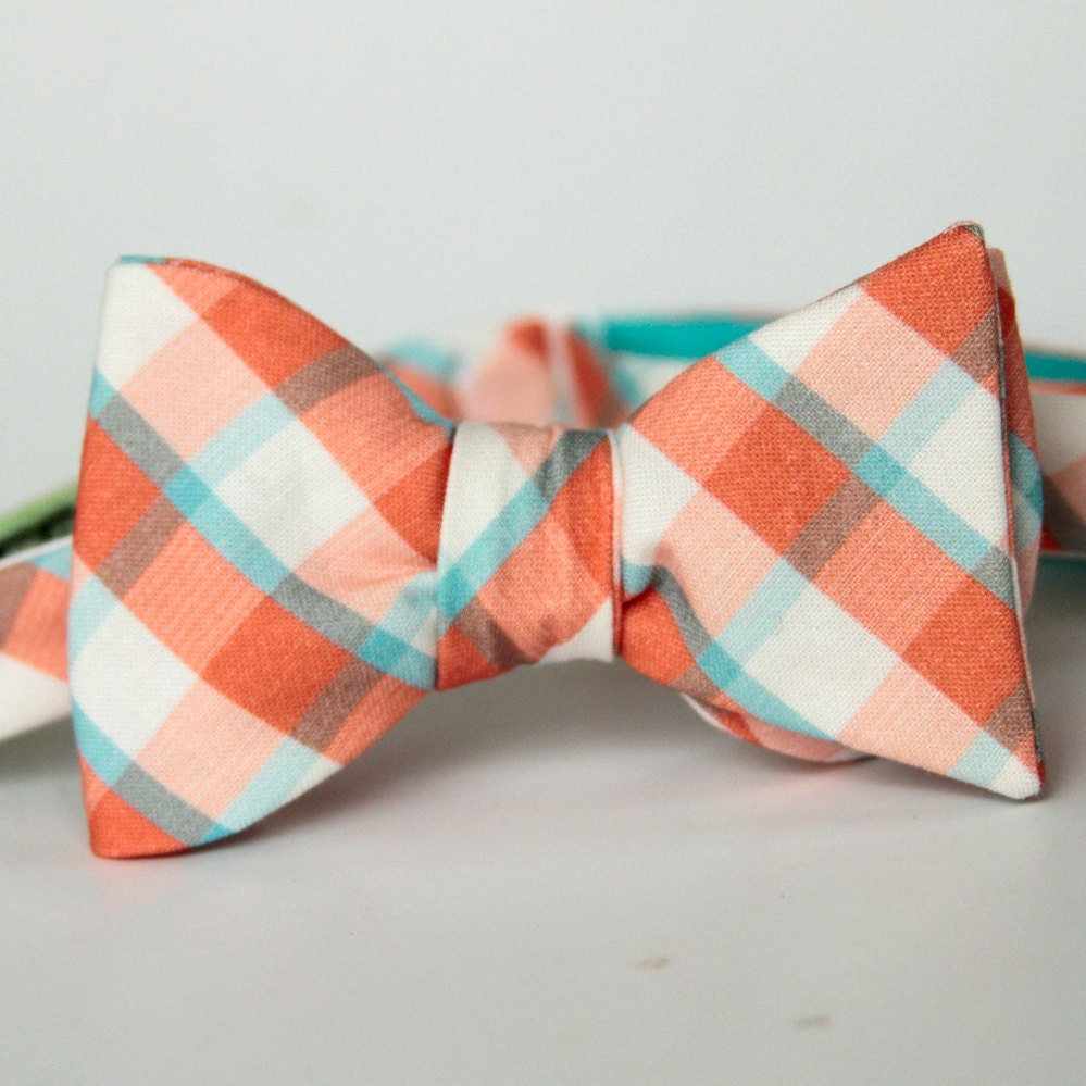 freestyle bow tie in teal and coral by xoelle on etsy