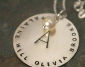 Personalized Family Necklace - OPHELIA Hand Stamped Sterling Silver Necklace By E. Ria Designs