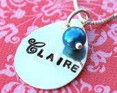 Name Necklace - CLAIRE Teardrop Sterling Silver Personalized Necklace with Genuine Pearl by E. Ria Designs
